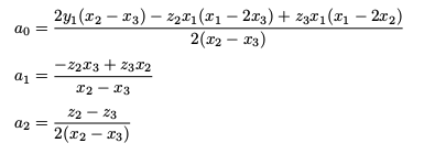 Coefficients of a quadratic defined by a point and the slopes/gradients at two other points