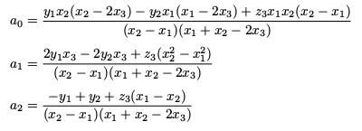 Coefficients of a quadratic defined by two points and the slope/gradient at a third point
