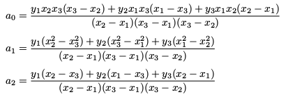 Coefficients for a quadratic defined by three points
