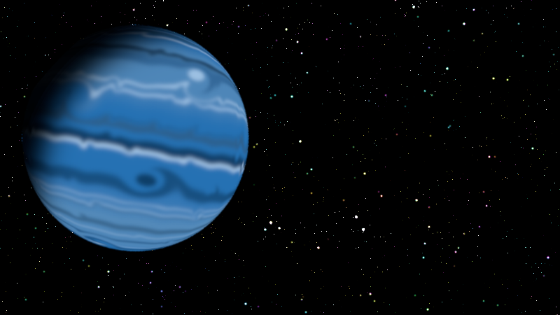 A blue gas giant floats into view