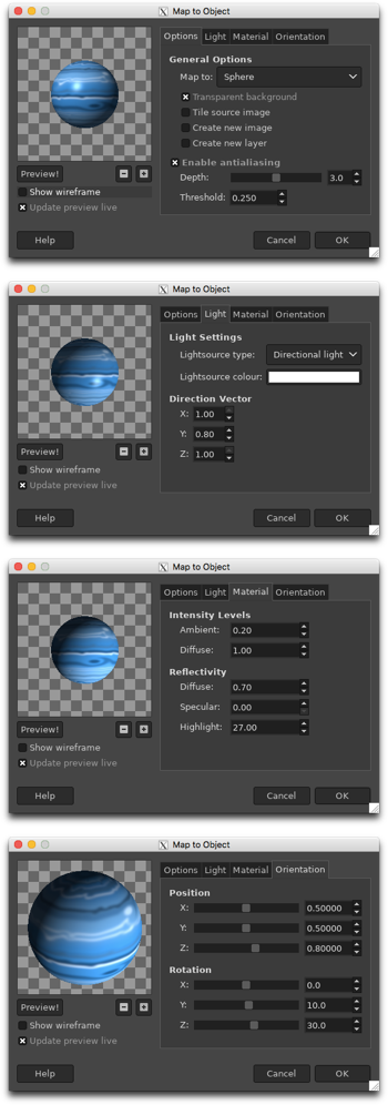 The Map Object four dialog boxes