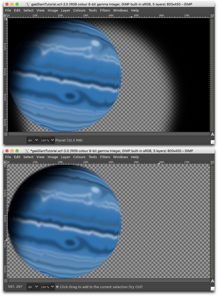 Top: planet with shadow, Bottom: after cutting away the excess shadow