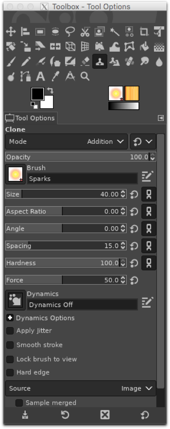 Using the Clone tool in Addition mode with the Sparks brush