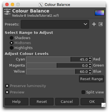 Using the Colour Balance to adjust the Shadows, Midtones and Highlights