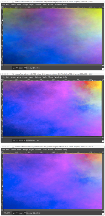 Top: Plasma, Middle: after applying Colour Balance, Bottom: after applying Colour Levels