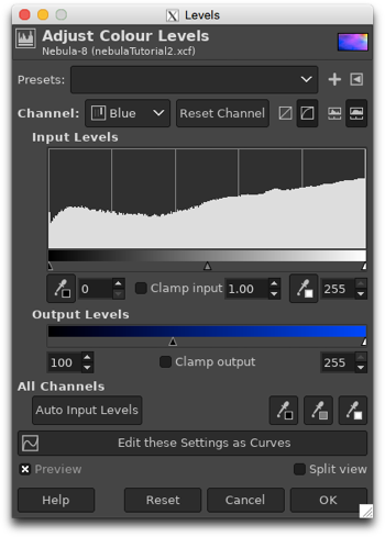 Using the Colour Levels to adjust the output