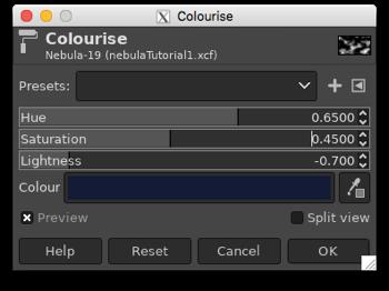 Colourising the monochrome nebula by adjusting the Hue, Saturation and Lightness