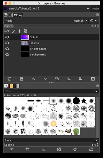 Adjusting the opacity of the Nebula layer