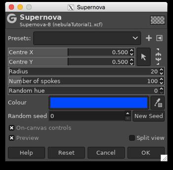 Using the Supernova filter to add a few bright stars to illuminate the nebula