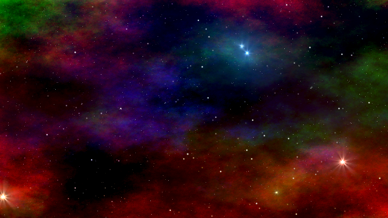 Red and green ionised gas surround a dusty blue reflection nebula, with dark nebulae throughout