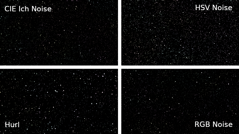 A comparison of star fields generated by different noise filters