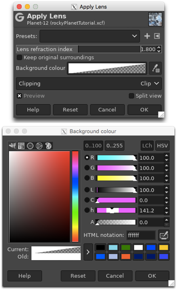 Applying the lens distortion filter and choosing a transparent background