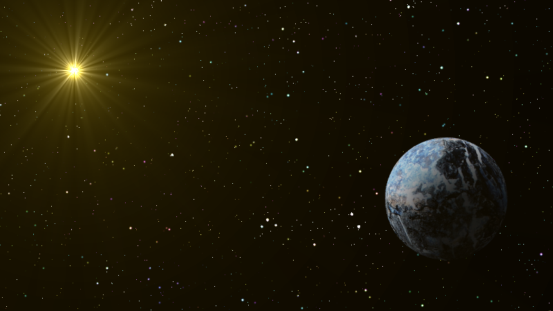 Our rocky planet floats serenely in space, illuminated by a distant golden sun.