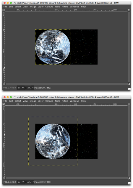 Top: planet before rotation, Bottom: planet after rotation