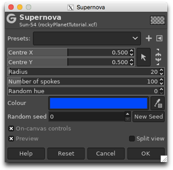 Adding the Supernova filter to create a sun for our planet