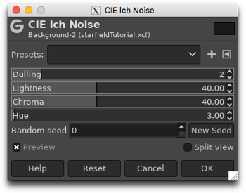 Using the CIE lch Noise filter to create a field of random coloured dots on the black background