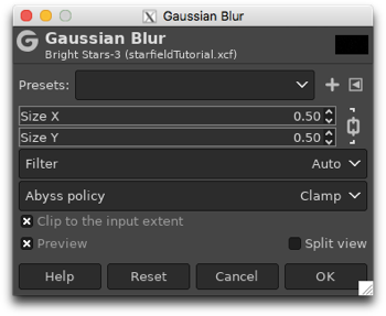 Using the Gaussian Blur filter to soften the appearance of the large dots