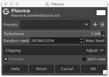 Using the Plasma filter to fill the layer with random blobs of colour