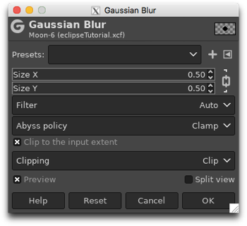 Using Gaussian Blur to soften the edge of the black circle