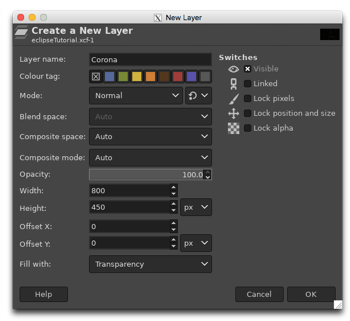 Creating a new transparent layer called Corona