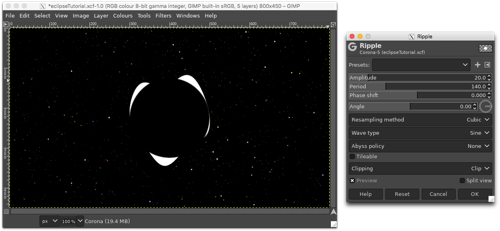 Using the Ripple distortion to make waves along the edge of the white circle (first pass)