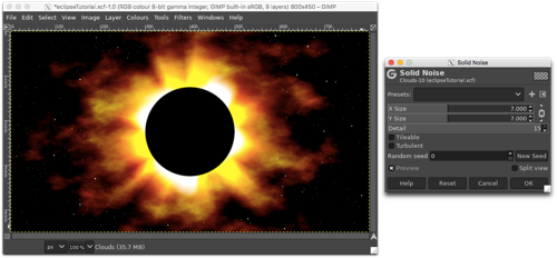 Using the Solid Noise filter to add interest and movement to the outer corona