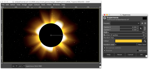 Using the Supernova filter to add rays (and colour)