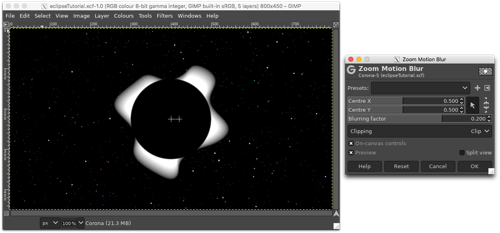 Using the Zoom Motion Blur to extend the lumpy edge to create an irregular cloud around the white circle