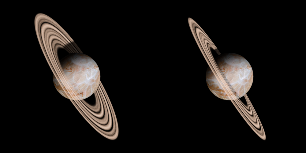 Left: original image, Right: using perspective and adding ring shadows on the disk of the planet