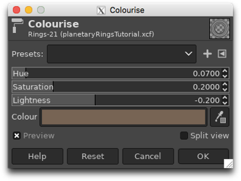 Colourising the monochrome rings by adjusting the Hue, Saturation and Lightness