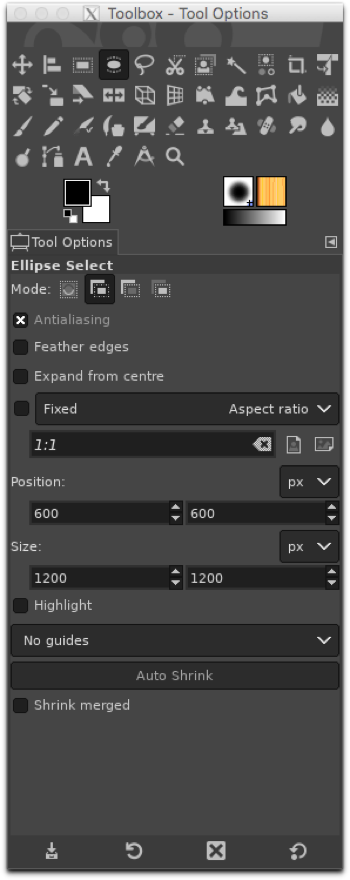 Using the Ellipse Selection tool to define a circle