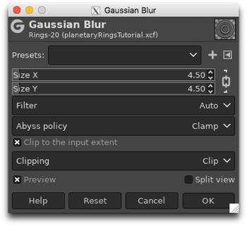 Using the Gaussian Blur filter to soften the appearance of the rings