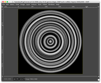 Appearance of the Rings layer after merging with the Particles layer