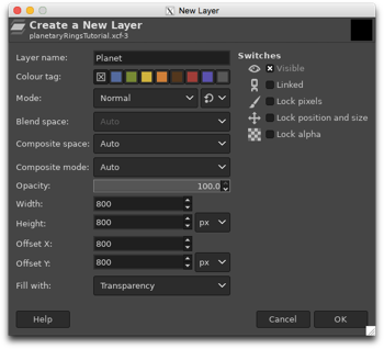 Creating a new transparent layer called Planet which is smaller than the image size and offset from the origin