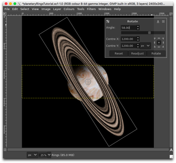 Rotating the Rings layer about its centre