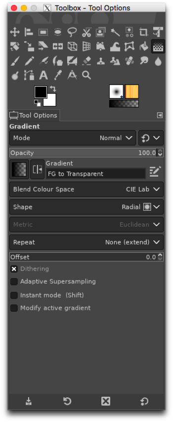 Using the Gradient (formerly Blend) tool to apply a gradient to the layer