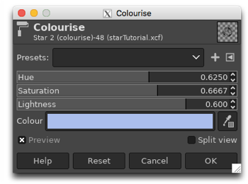 Colourising the monochrome star by adjusting the Hue, Saturation and Lightness