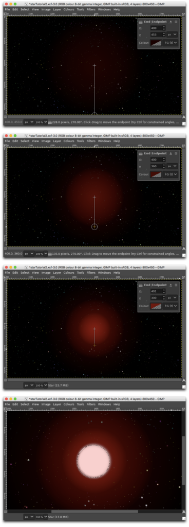 Using the Gradient tool in the upper three panels to create the outer glow; using the Ellipse Selection/Bucket Fill tools to create the star in the bottom panel