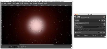 Using the Ellipse Selection tool and the Pick noise filter to create texture on the surface of the star