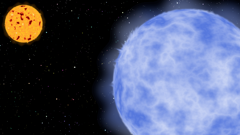 A binary star consisting of a blue giant and an orange-yellow dwarf